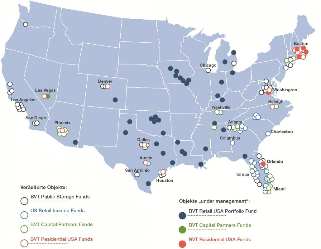 Landkarte der USA mit BVT Objekten