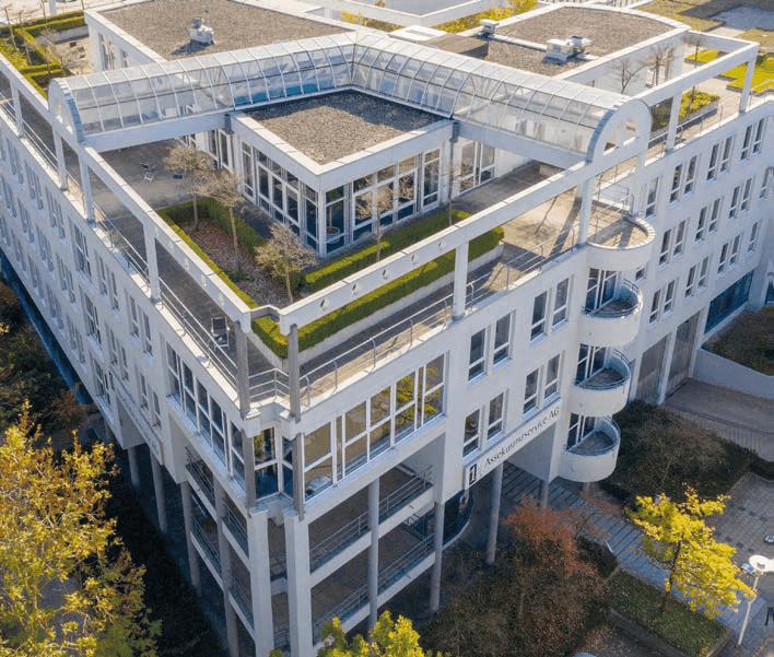 Bürogebäude in Augsburg aus der Luft