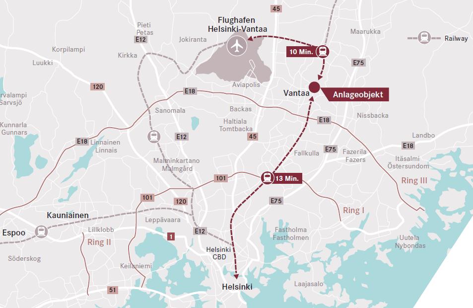 kartenausschnitt öpnv in Helsinki