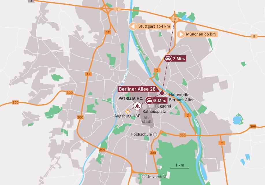 Kartenausschnitt Augsburg