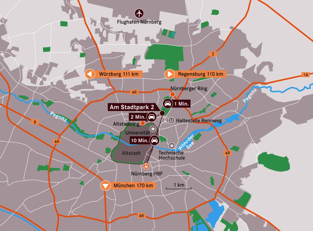 Kartenausschnitt Nürnberg