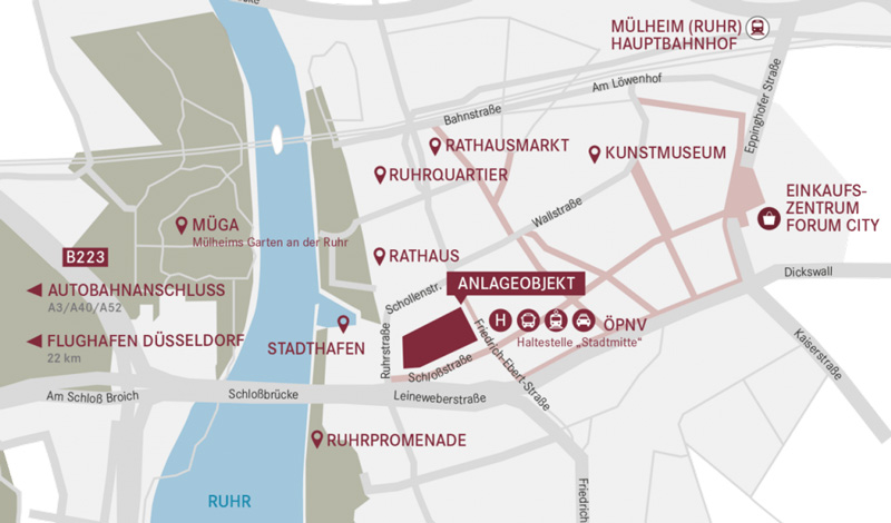 Mikrolage der Immobilie Die Stadtmitte Mülheim