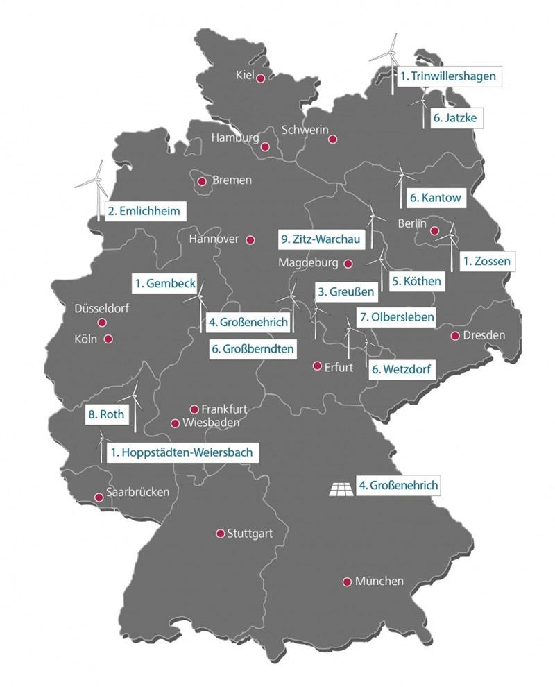 Deutschlandkarte mit Windparks - Nachhaltige Investments mit Ökorenta
